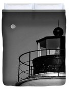 Piney Point Lighthouse And Moon In Black And White Duvet Cover