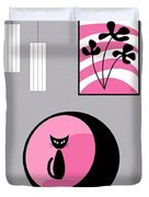 Pink 3 On Gray Duvet Cover