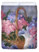 Pink And Blue Hydrangeas Duvet Cover