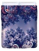 Pink And Blue Morning Frost Fractal Duvet Cover