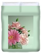 Pink And Green Floral Duvet Cover