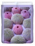 Pink And Green Urchins Duvet Cover