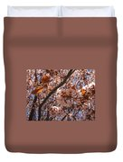 Pink And Leaves Duvet Cover