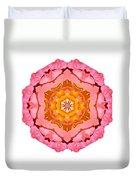 Pink And Orange Rose I Flower Mandala White Duvet Cover