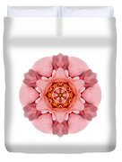 Pink And Orange Rose Iv Flower Mandala White Duvet Cover