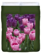 Pink And Purple Dutch Tulips Duvet Cover