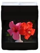 Pink And Red Hibiscus Duvet Cover
