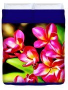 Pink And Red Plumeria Duvet Cover