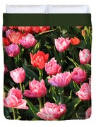 Pink And Red Ruffly Tulips Square Duvet Cover