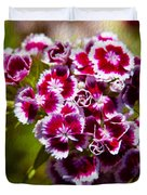 Pink And White Carnations Duvet Cover
