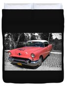 Pink And White Cuban Taxi Duvet Cover