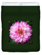 Pink And White Dahlia Square Duvet Cover