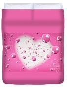 Pink And White Heart Reflections In Water Droplets Duvet Cover