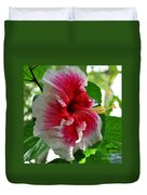Pink And White Hibiscus Duvet Cover