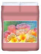 Pink And Yellow Lantana With Verse Duvet Cover by Debbie Portwood