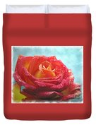 Pink And Yellow Rose With Dew II  Duvet Cover