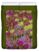 Pink And Yellow Tulips Pop Art Duvet Cover