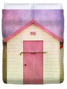 Pink Beach Hut Duvet Cover
