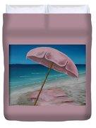 Pink Beach Umbrella Duvet Cover