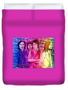 Pink Beatles From Rainbow Series Duvet Cover