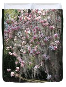 Pink Blossoms And Gray Moss Duvet Cover