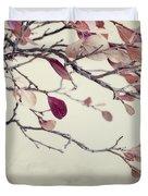 Pink Blueberry Leaves Duvet Cover by Priska Wettstein