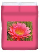 Pink Cactus Flower Of The Southwest Duvet Cover