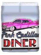 Pink Cadillac Diner Duvet Cover