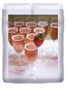 Pink Champagne And Strawberry Duvet Cover