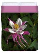 Pink Columbine Flower Duvet Cover