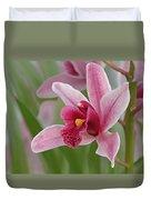 Pink Cymbidium Orchid Duvet Cover