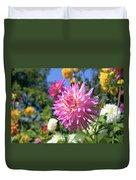 Pink Dahlia Flower Closeup Duvet Cover