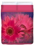 Pink Daisies Abstract Duvet Cover