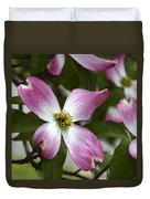 Pink Dogwood Blossom Up Close Duvet Cover