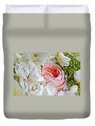 Pink English Rose Among White Roses Art Prints Duvet Cover