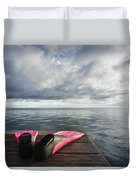 Pink Fins On Dock Duvet Cover