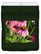 Pink Flower And Bee Duvet Cover
