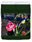 Pink Flower And Bud Duvet Cover