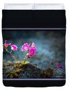 Pink Flower With Inkbrush Calligraphy Joyfulness Duvet Cover
