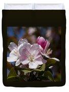 Pink Flowering Crabapple Blossoms Duvet Cover