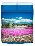 Pink Flowers Blue Sky Duvet Cover