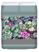 Pink Flowers Painting Duvet Cover