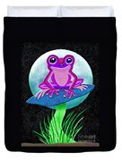 Pink Frog And Blue Moon Duvet Cover
