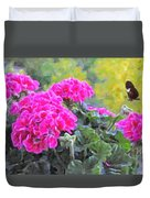 Pink Geraniums And Butterfly Duvet Cover