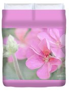 Pink Geraniums Duvet Cover