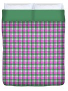 Pink Green And White Plaid Pattern Cloth Background Duvet Cover