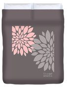 Pink Grey Peony Flowers Duvet Cover
