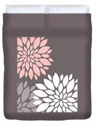 Pink Grey White Peony Flowers Duvet Cover
