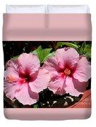Pink Hibiscus Blooms Duvet Cover