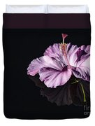 Pink Hibiscus On Black Water Duvet Cover
